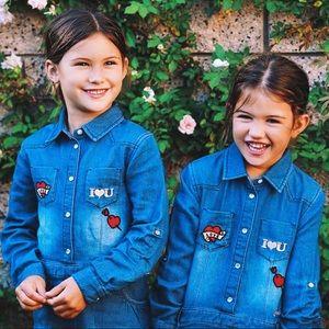Girls Guess Kids Denim Dress with Appliqués